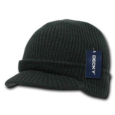 Solid Black Visor Beanie Jeep GI Military Ski Watch Cap Caps Hat Hats Beanies Gi Jeep Caps