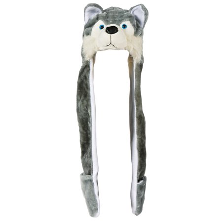 Plush Wolf Hat Novelty Cap Animal Costume Beanie With Long Paws - Wolf Hat Costume