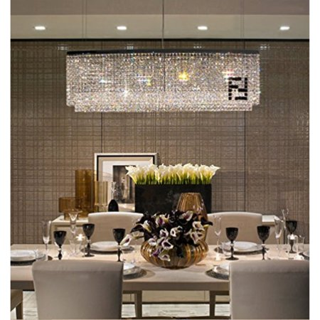 Siljoy Modern Oval Rectangular Chandelier Dining Room Chandeliers Lighting  Island Crystal Pendant Lamp, H16\