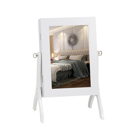 Kinbor Make Up Jewelry Mirrored Cabinet Mini Table Tilting Jewelry Holder Armoire Organizer Storage with Stand White ()