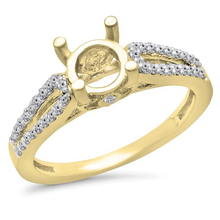 Dazzlingrock Collection 0.30 Carat (ctw) 14K White Diamond Split Shank Semi Mount Engagement Ring 1/3 CT, Yellow Gold, Size 4.5
