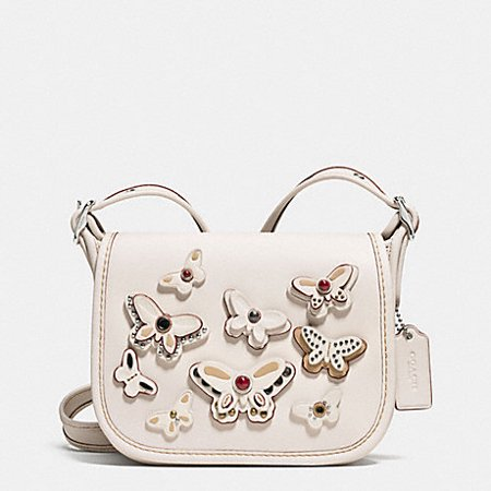 Coach Patricia Saddle Bag 18 In Natural Leather With All Over Butterfly Applique Silver Chalk   F59360