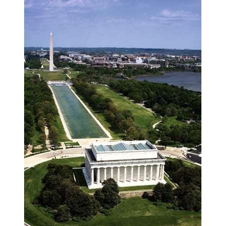 National Mall Lincoln Memorial and Washington Monument Washington DC - Vintage Style Photo Tint Poster Print by Carol (Lincoln Shopping Mall)