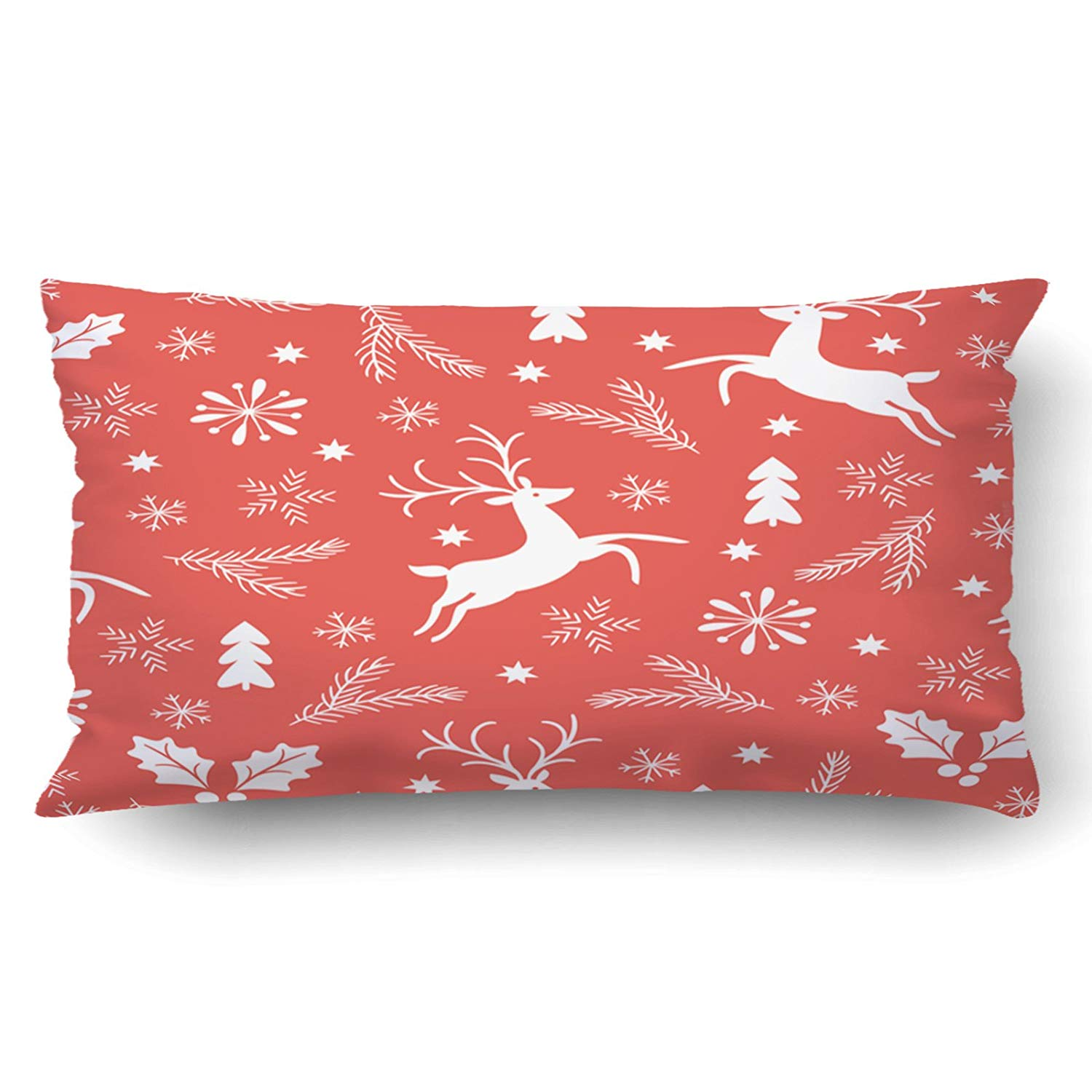 BPBOP Xmas Christmas Pattern White Reindeer Snowflakes Red Pillow Case Cushion Cover Case Throw Pillow Case 20x30 inches