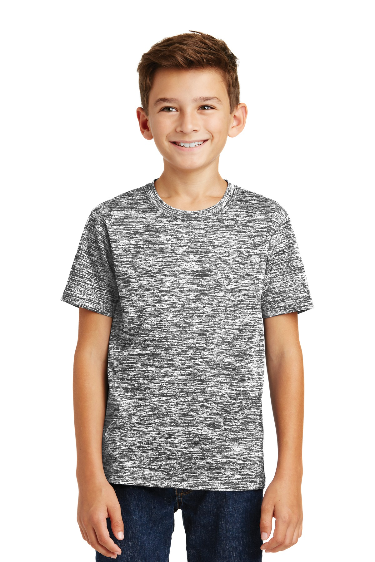 Sport-Tek YST390 Youth PosiCharge Electric Heather Tee, Black Electric, XS