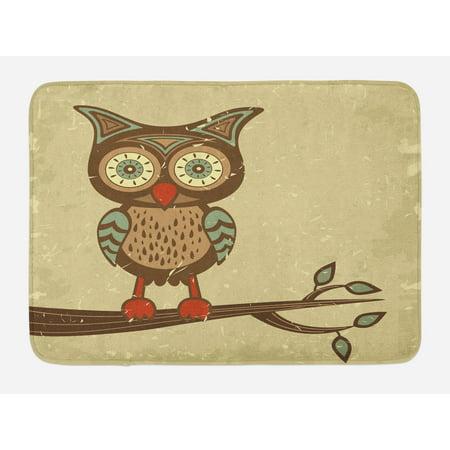 Owl Bath Mat, Cute Owl Sitting on Branch Eyesight Animal Humor Pastel Retro Modern Graphic, Non-Slip Plush Mat Bathroom Kitchen Laundry Room Decor, 29.5 X 17.5 Inches, Brown Cream Red Teal, Ambesonne
