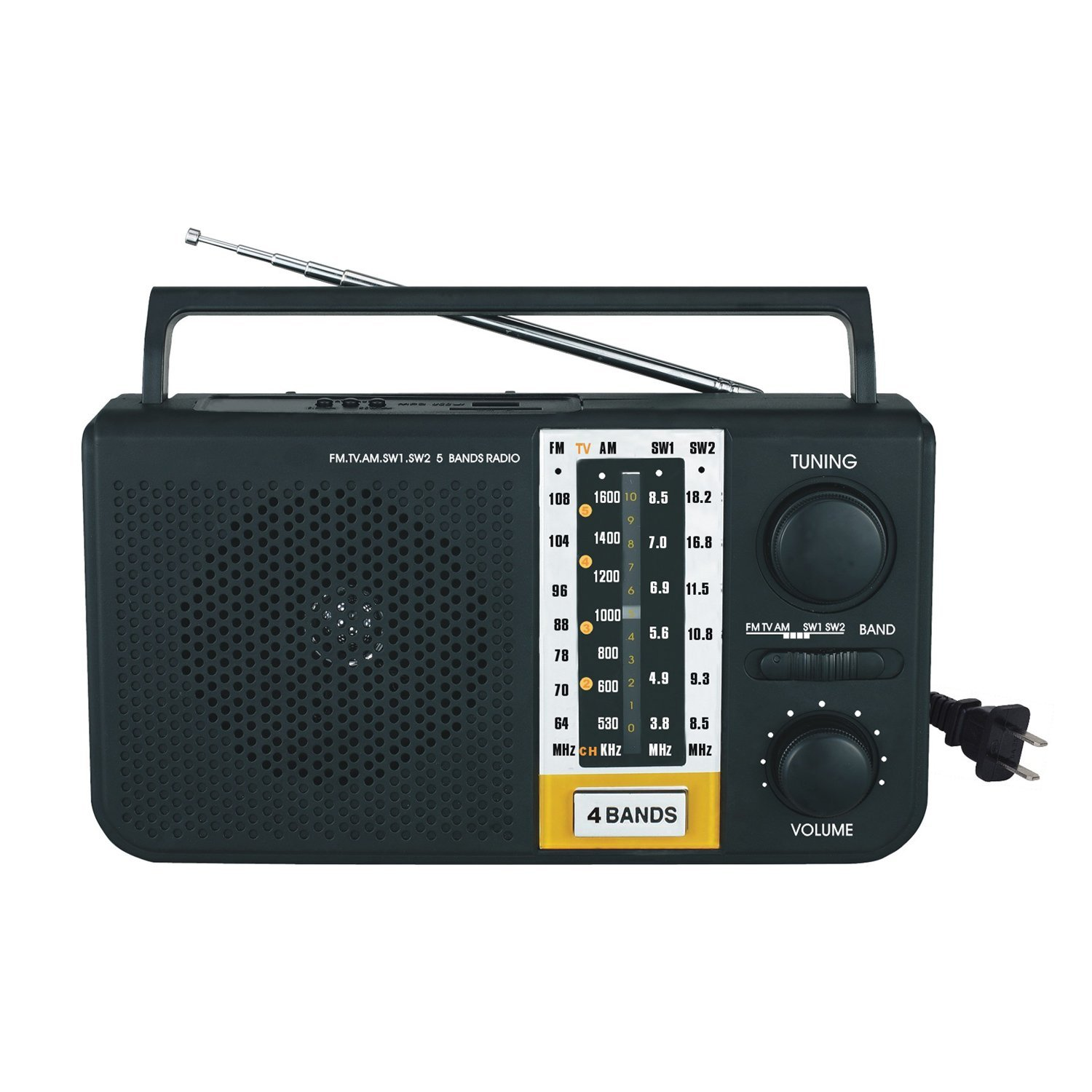 Mini Portable AM/FM/SW1/SW2/TV 5 Bands Radio with Built-In SD & USB Inputs New