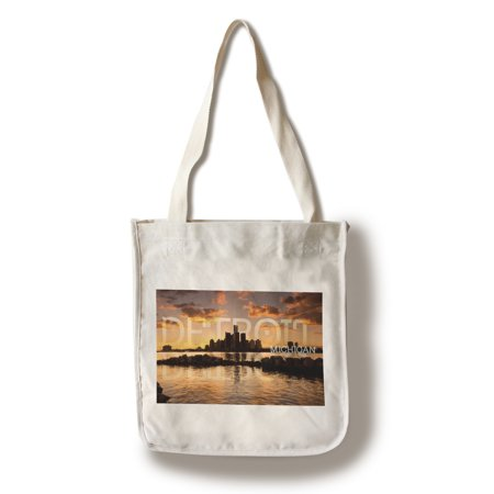 Detroit  Michigan   Orange Sky   Skyline  Lantern Press Photography  100  Cotton Tote Bag   Reusable