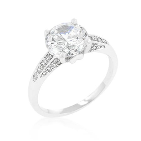 Genuine Rhodium Plated Engagement Ring with Round Cut Center Stone and Accented Cubic Zirconia Chips in Silvertone - Size 5 - image 1 de 1