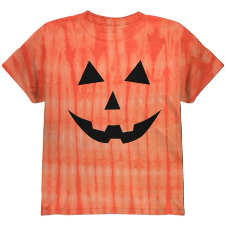 Halloween Jack-O-Lantern Classic Face Tie Dye Youth T-Shirt