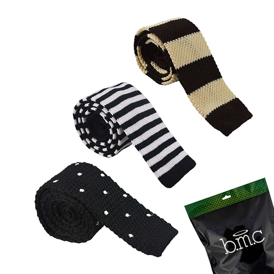 BMC Mens Crochet Knitted Square Flat End Fashion Neck Ties 3pc Collection-Set 5
