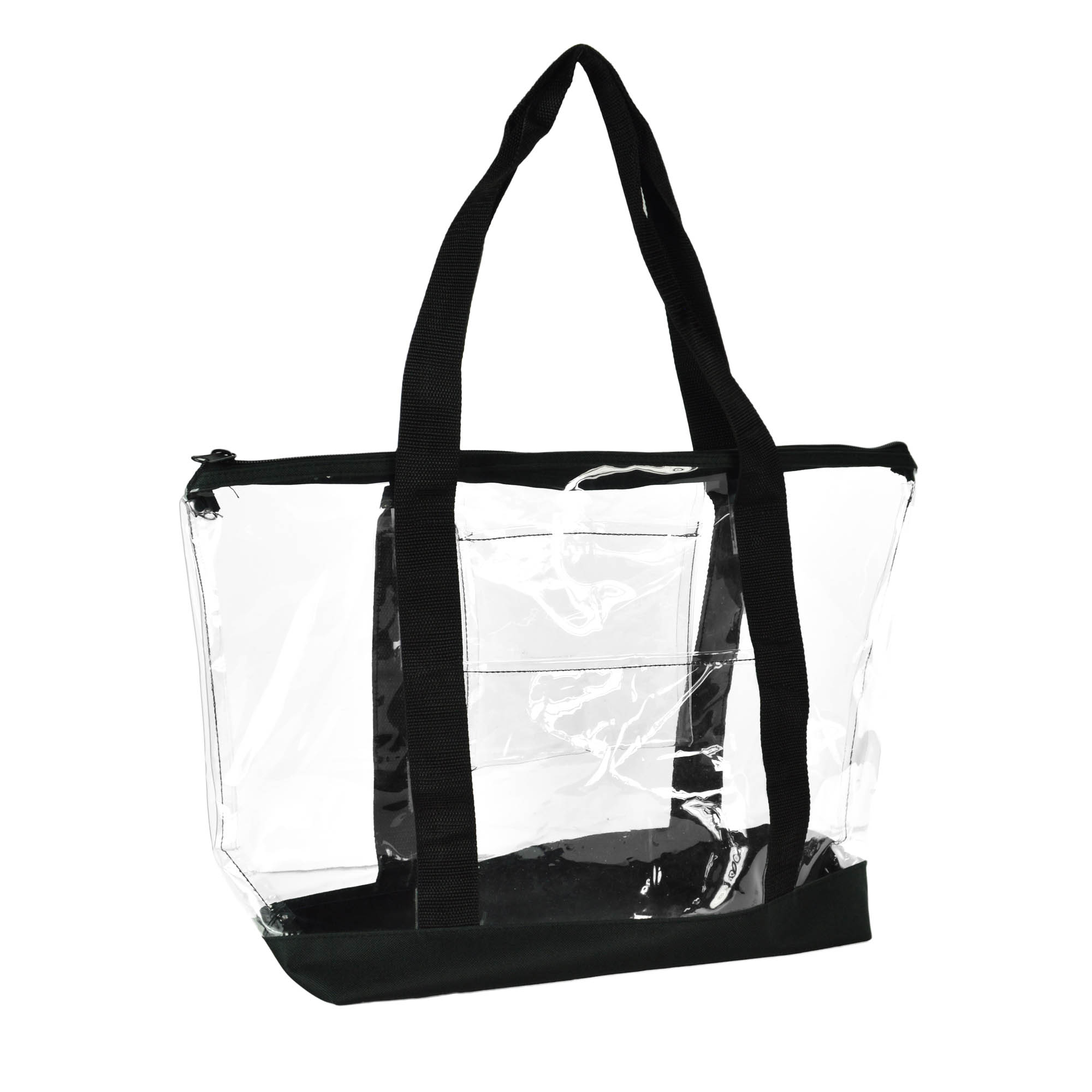 DALIX Clear Transparent Shopping Bag Security Work Tote (Zippered)