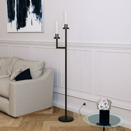 Basso Metal LED Floor Lamp with Double Glass Torchiere