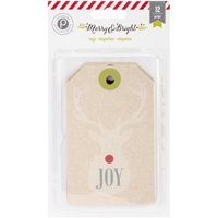 American Craft Pk Paislee Merry And Bright Collection Christmas Kraft Tags