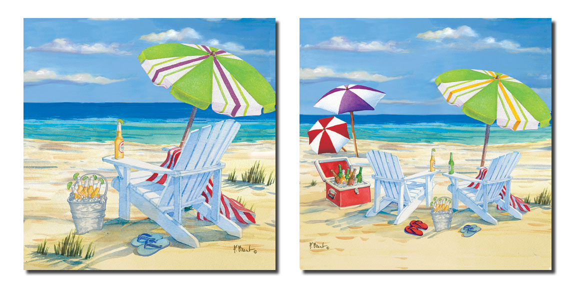 5 o'clock Beach -Fun Beach Scene Adirondack Chairs, Umbrella, Icechest of Beers Oceanside; Two 12x12in Poster Prints by Gango Home Décor