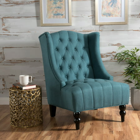 Noble House Taylor High Back Teal Fabric Tufted Club