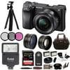 "Sony ILCE-6300 a6300 4K Mirrorless Camera 16-50mm 64GB Pro Bundle ""24.2MP APS-C Exmor CMOS SensorBIONZ X Image ProcessorXGA Tru-Finder 2.36m-Dot OLED EVF3.0"""" 921.6k-Dot Tilting LCD MonitorInternal UHD 4K30 &1080p120 Recording425 Phase-Detect PointsWeather-Sealed Magnesium Alloy Body"""