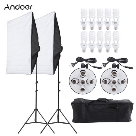 Andoer Photography Studio Portrait Product Light Lighting Tent Kit Photo Video Equipment(2 * Softbox+2 * 5in1 Light Socket+10 * 45W Bulb+2 * Tripod Stand+1 * Carrying Bag)