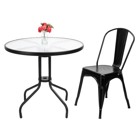 ZeAofa4pcs Industrial Style Iron Sheet Chair Black