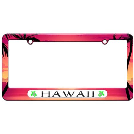 Hawaii Love, Turtle, Hibiscus License Plate Tag Frame, Multiple Colors (Pewter License Plate Cover)