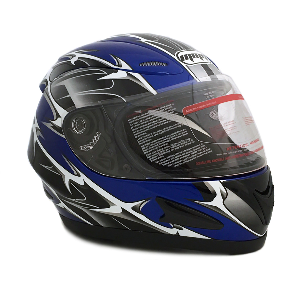Motorcycle Full Face Helmet DOT Street Legal +2 Visors Comes with Clear Shield and Free Smoked Shield – Spikes BLUE 118S (Large)
