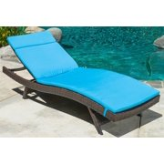 Everett Outdoor Brown Wicker Adjustable Chaise Lounge w Blue Cushions