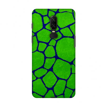 OnePlus 6 Case - Giraffe - Blue Brushed Scales With Green Scratched Effect, Hard Plastic Back Cover, Slim Profile Cute Printed Designer Snap on Case with Screen Cleaning (Best Green Screen Effects)