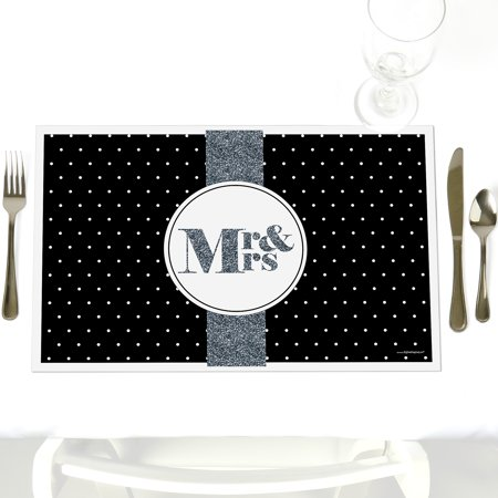 Mr. & Mrs. - Silver - Party Table Decorations - Bridal Shower or Wedding Placemats - Set of 12