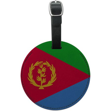 Eritrea National Country Flag Round Leather Luggage ID Tag Suitcase Carry-On