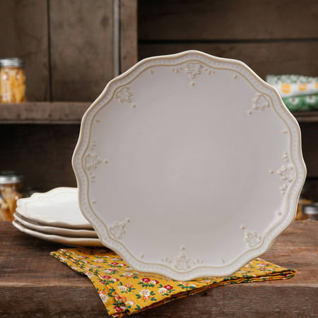 The Pioneer Woman Farmhouse Lace Dinner Plate Set, 4-Pack Desert Rose Dinner Plate