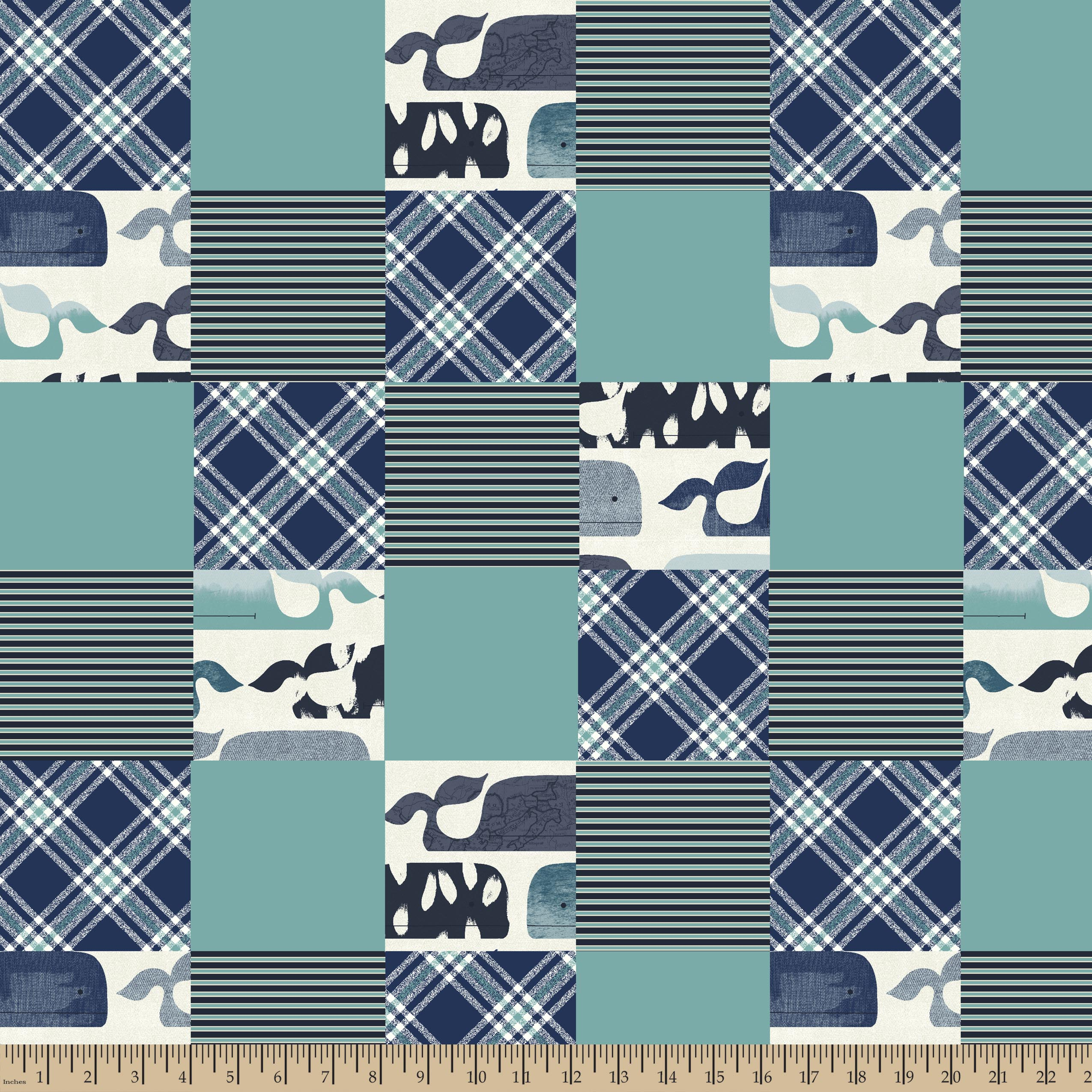 Baby Whale Patches 4x4 Multi Substrate Fabric by the Yard