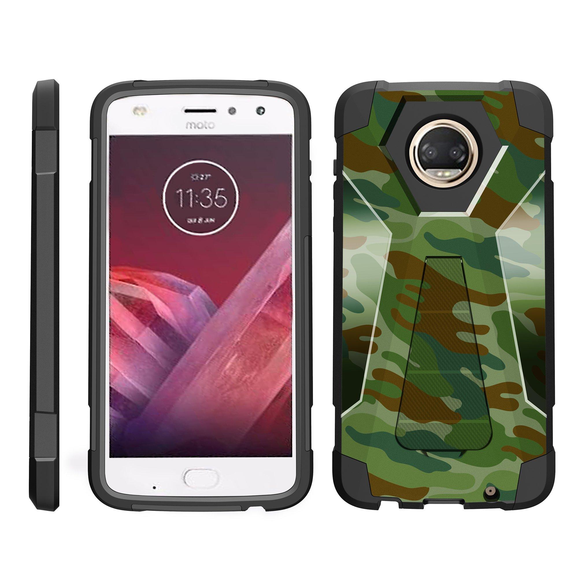 TurtleArmor ® | For Motorola Moto Z2 Force | Motorola Moto Z2 Play XT1710 [Dynamic Shell] Dual Layer Hybrid Silicone Hard Shell Kickstand Case - Light Blue Gray
