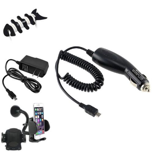 Insten Car Mount+2 Charger+Fishbone Wrap for HTC One M7 Samsung Galaxy S4 i9500 S3 S III i9300 Note 4 3 N9100 N9000