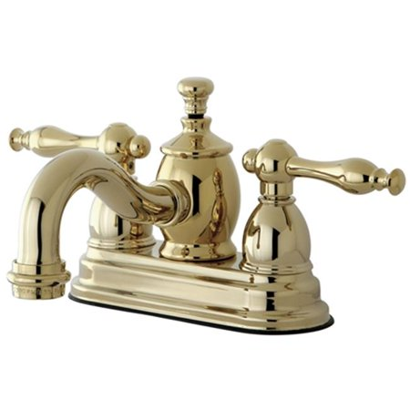 Kingston Brass KS7102NL 4 in. Centerset Lavatory Faucet with Heritage Spout & Metal Lever Handle, Polished Brass - image 1 de 1