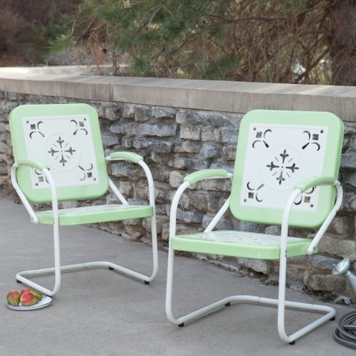 Pair of Paradise Cove Retro Metal Arm Chairs in Green