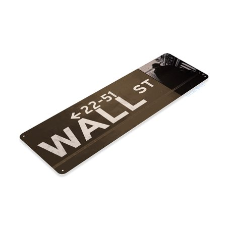 Money Sign - TIN SIGN Wall Street Sign New York Store Money Stock Index Market Bull A832