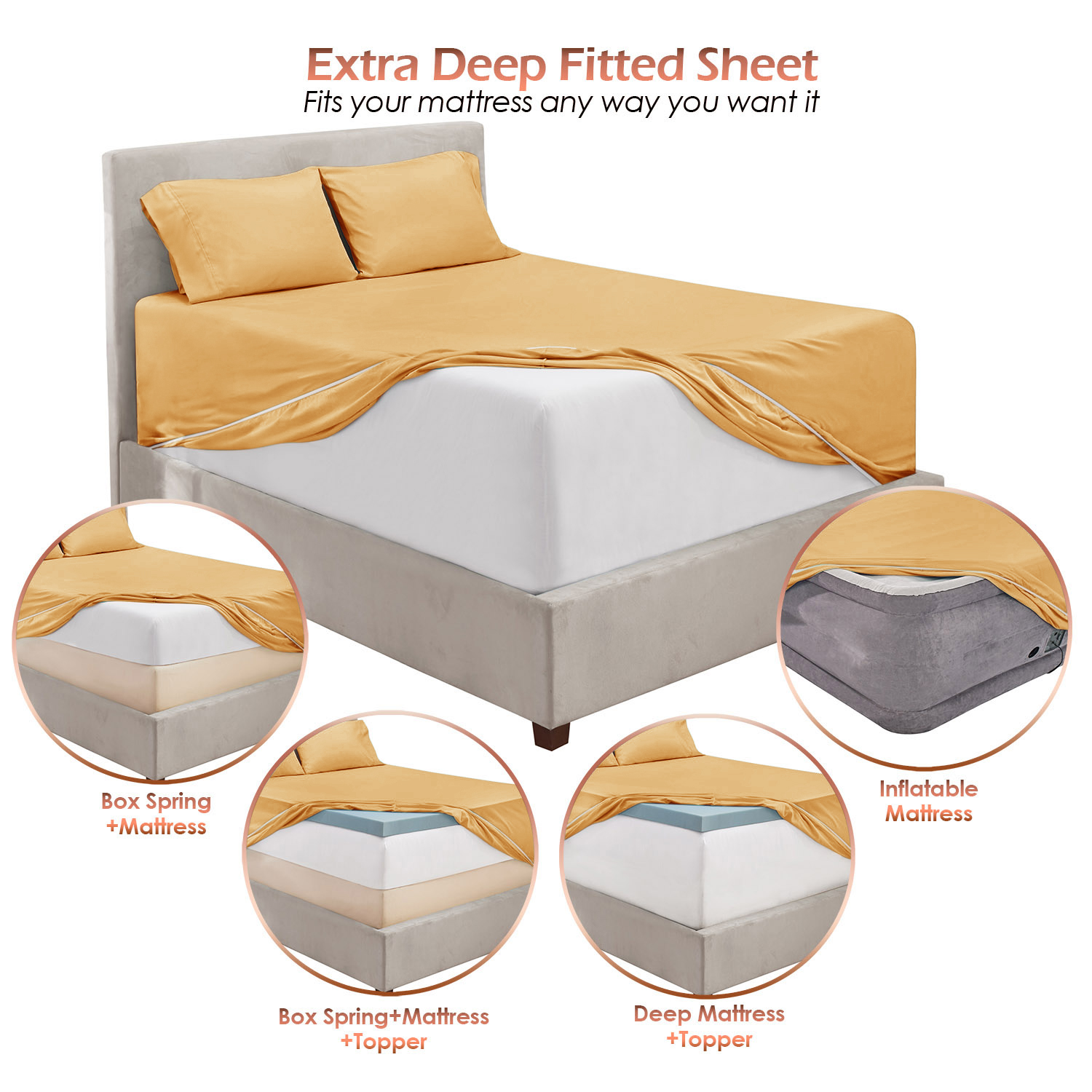 """Black King 21"""" Extra Deep Pocket Ultra Soft Fitted Sheet with Corner Straps"""