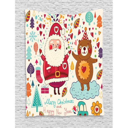 Christmas Wall Hanging Tapestry, Merry Santa and Teddy Bear Vintage Christmas Ornaments Party Kids Room Nursery Decor, Bedroom Living Room Dorm Decor, Multi, by Ambesonne