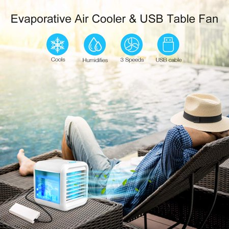 Ultra-Quiet Personal Air Cooler, USB Evaporative Coolers with Waterbox, Multifunctional Fan with LED Light and 3 Fan Speed, USB Charging, Suitable for Home Office Bedroom Kids - image 4 de 9