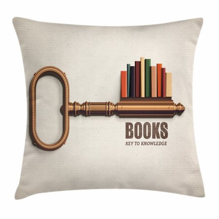 Book Throw Pillow Cushion Cover, Key Shaped Bookshelf with Colorful Books as Bitting Cuts Books Key to Knowledge Print, Decorative Square Accent Pillow Case, 18 X 18 Inches, Multicolor, by