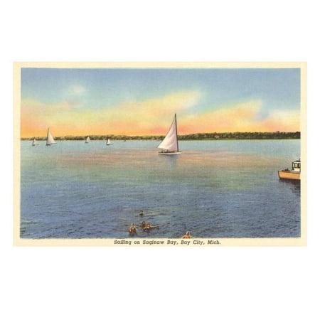 Sailboats, Saginaw Bay, Bay City, Michigan Print Wall Art for $<!---->