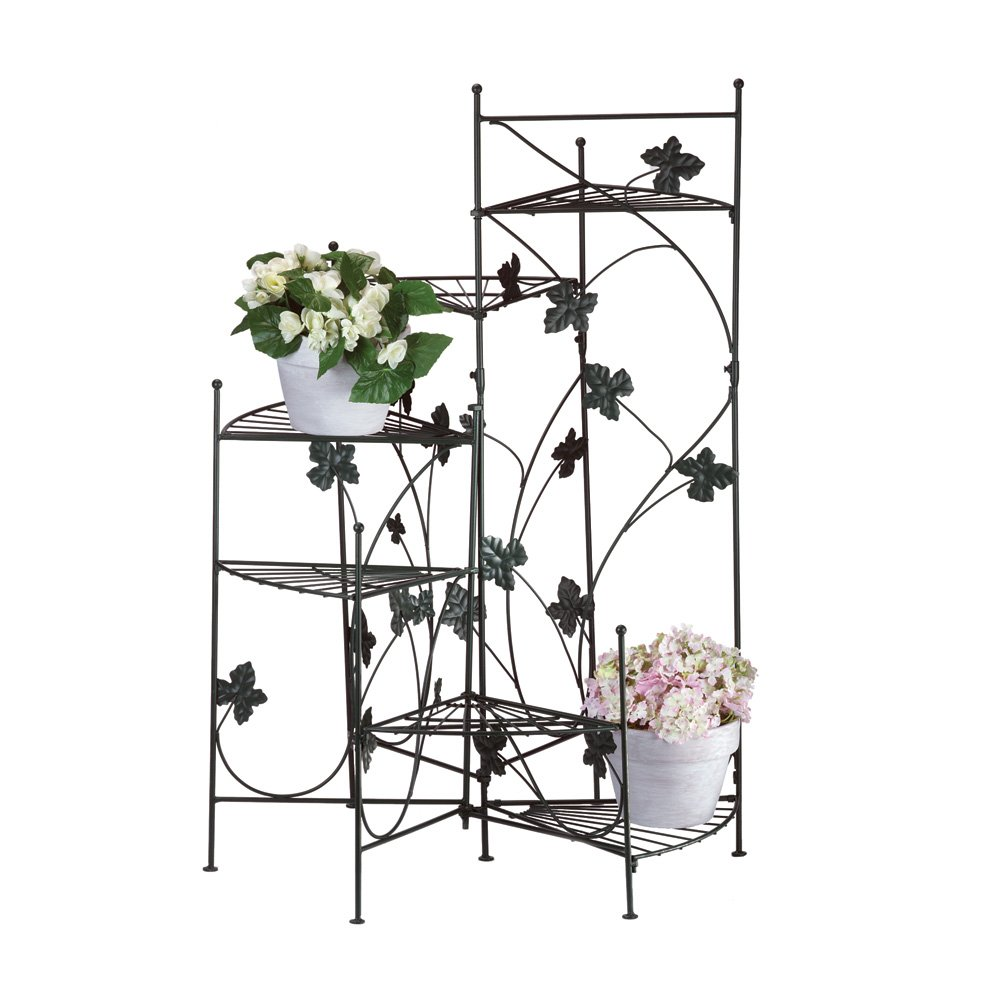 Metal Indoor Plant Stand, Black Rustic Ivy Staircase Decorative Plant Stands by Summerfield Terrace