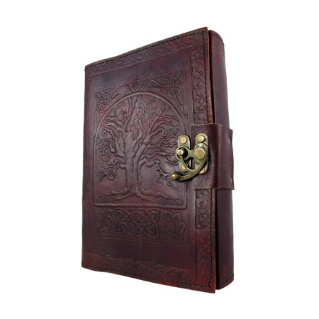 Large Embossed Leather Celtic Tree Of Life 184 Leaf Diary Journal with Clasp