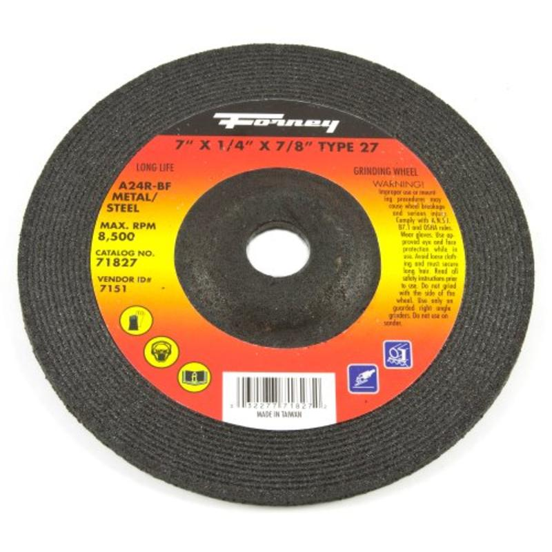 """7"""" x 1/4"""" A24R Metal Type 27 Grinding Wheel w/7/8"""" Arbor Forney 71827"""