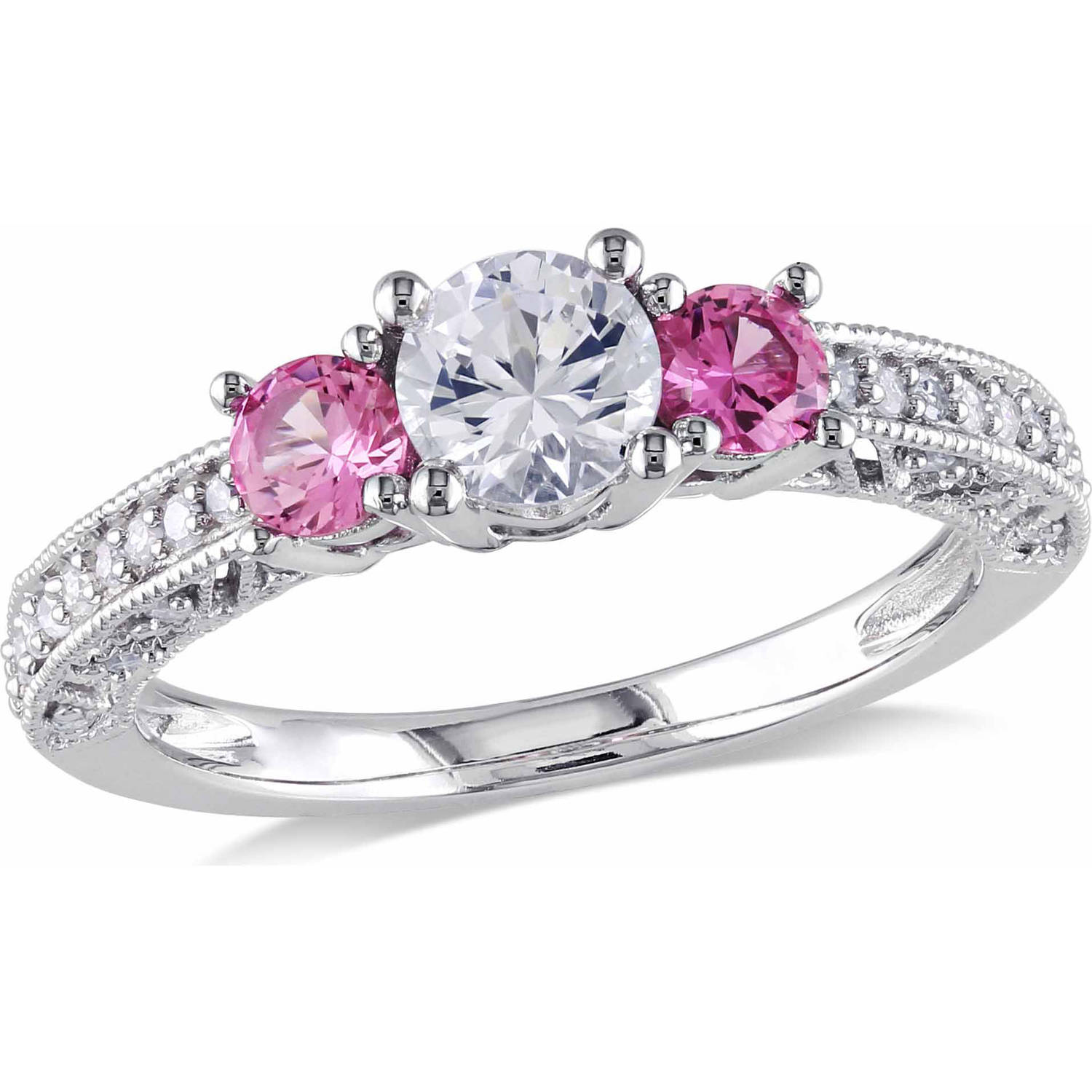tangelo 1 carat t g w created white and pink sapphire and 1 6