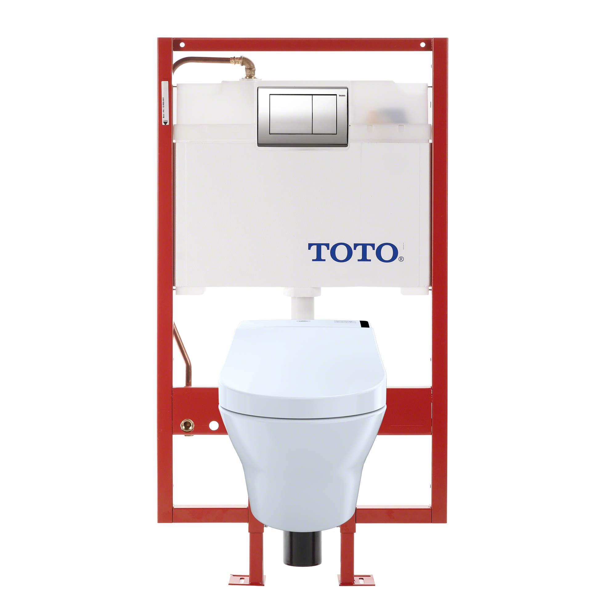 TOTO® MH Connect+® Wall-Hung D-Shape Toilet and C200 WASHLET® Bidet Seat, Dual-Flush 1.28 GPF and 0.9 GPF with Copper Supply, Cotton White - CWT4372047MFG-4#01