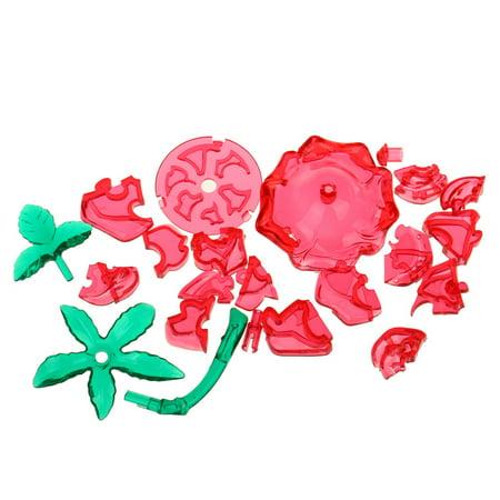 3D Crystal Puzzle Cute Rose Model DIY Gadget Blocks Building Toy