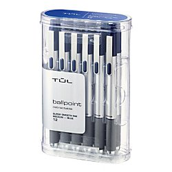 TUL BP3 Ballpoint, Retractable, Medium Point, 1.0 mm, Silver Barrel, Blue Ink, Pack Of (Medium Retractable Refillable Blue Barrel)