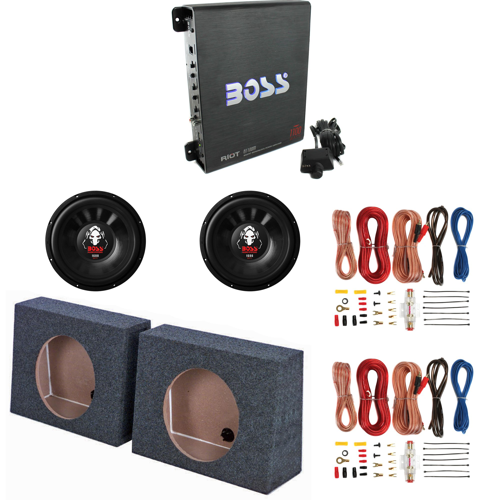 """Boss 1100W Amp & 12"""" 1600W Subwoofer (2 Pack) & 12"""" Sub Box (2 Pack) & Wire Kits"""