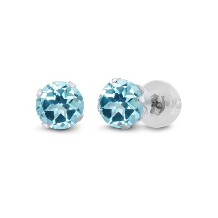 14K White Gold Earrings Set with Round Ice Blue Topaz from Swarovski